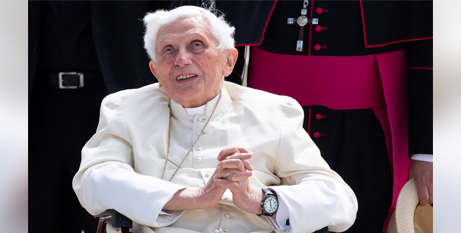 Retired Pope Benedict XVI at Germany's Munich Airport before his return to Rome yesterday (CNS/Sven Hoppe, pool via Reuters)
