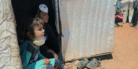 Displaced children  at a camp in Idlib, Syria (CNS Khalil Ashawi, Reuters)