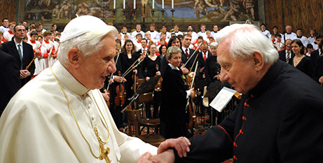Pope Benedict XVI and Msgr Georg Ratzinger in the Sistine Chapel in 2009 (CNS/Vatican Media via KNA)