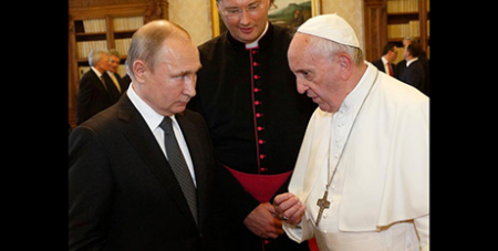 Pope Francis and Russian President Vladimir Putin at the Vatican yesterday (CNS/Paul Haring)