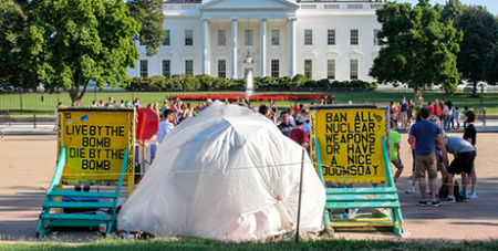 A protest against nuclear weapons at the White House, 2016 (Bigstock)