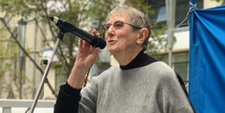 Sr Brigid Arthur at a refugee rally in Melbourne earlier this year (Melbourne Catholic/Fiona Basile)