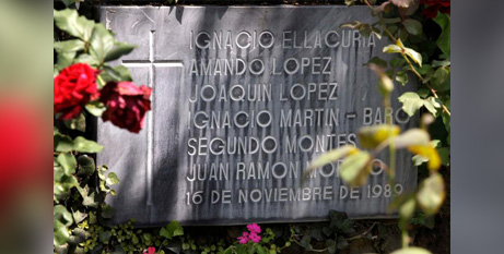 A memorial at Central American University in San Salvador, El Salvador, bearing the names of six Jesuits massacred in 1989 (CNS/Luis Galdamez, Reuters)