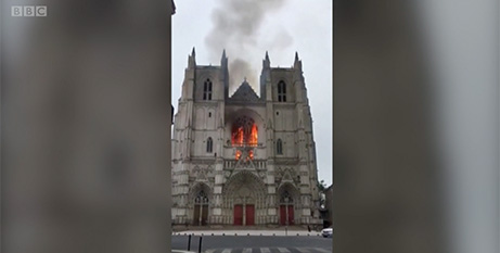 The blaze at Saint-Pierre-et-Saint-Paul Cathedral in Nantes, France, on Saturday (BBC)