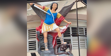 The controversial statue of St Michael in Benin (Facebook/Beninmedias)