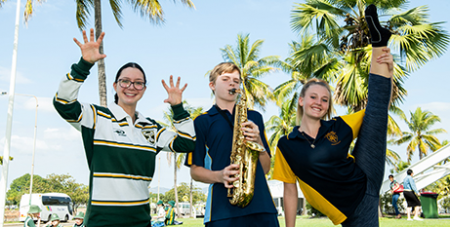 Students Ashleigh Dobson, Liam Mackay and Kendall Croucher will take part in this year's Mulkadee Youth Arts Festival (Townsville Catholic Education)