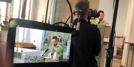 Filming an episode Mass for You at Home (ACBC)