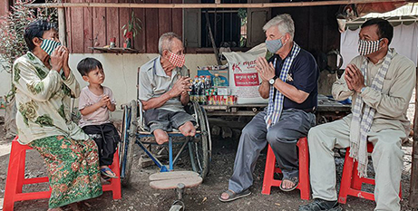 Bishop Enrique Figaredo SJ meets with people with disabilities in Cambodia (Catholic Mission)