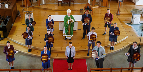 Bishop Tim Harris and the winners of the Deus Caritas Est awards yesterday (TCEO)