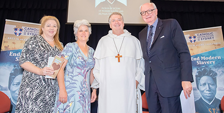 Members of the Anti-Slavery Taskforce (from left) Alison Rahill, Jenny Stanger and John McCarthy QC with Archbishop Anthony Fisher OP in 2019 (Sydney Archdiocese/Giovanni Portelli)