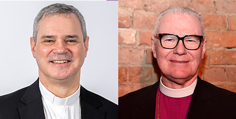 Archbishop Peter Comensoli and Archbishop Philip Freier (ACBC and Wikipedia/Bahnfrend)