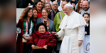 -Pope Francis and Setsuko Thurlow, a survivor of the 1945 atomic bombing in Hiroshima, in St Peter's Square at the Vatican in March (CNS/Paul Haring)