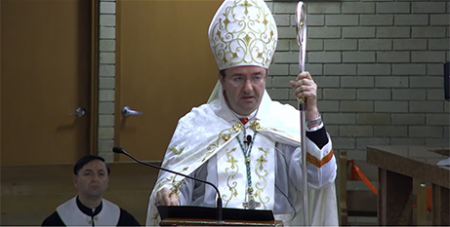Bishop Antoine-Charbel Tarabay delivers the homily at Our Lady of Lebanon Co Cathedral on Saturday (YouTube/OLOL)