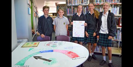 Nagle Catholic College students with a Friend-o-metre made in their Friendology course (Facebook/Nagle Catholic College)