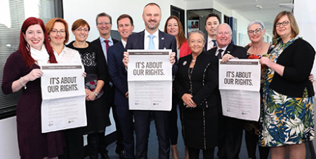 Andrew Barr (centre) and ACT Labor MPs campaign for Territories