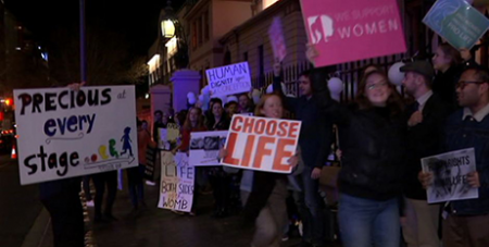Pro-life advocates outside NSW Parliament earlier this month (ABC News)