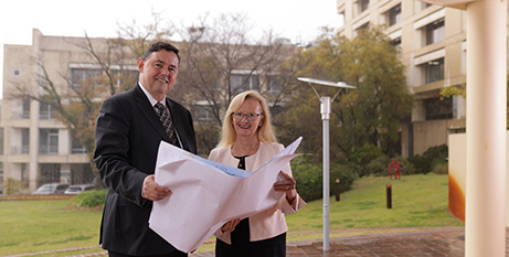 Shane Kelly and Shirley Bowen with plans for new St John of God Subiaco Hospital (Supplied)