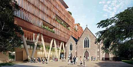 An artist's impression of the eight-storey tower that will sit beside St Patrick's Church in Fortitude Valley (ABC News/URBIS)