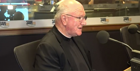Archbishop Denis Hart at 3AW yesterday (YouTube/3AW)