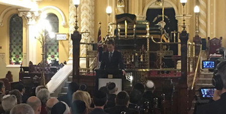 Christian Porter launches the draft legislation at the Great Synagogue in Sydney yesterday (Facebook/Christian Porter MP)