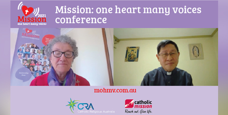 Mission: One Heart, Many Voices conference host Sr Marion Gambin RSJ and Cardinal Luis Tagle online yesterday (Catholic Mission)