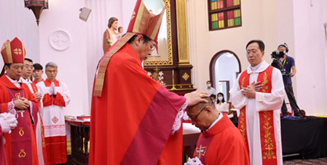 The episcopal ordination of Bishop Francis Cui Qingqi in Wuhan, China, yesterday (China Catholic website)