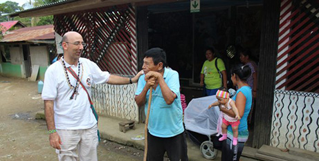 Bishop David Martinez De Aguirre Guinea at the indigenous community of Arazaire, Peru (CNS)