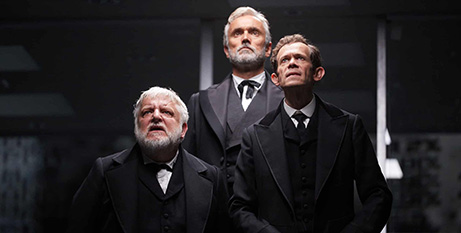 Adam Godley, Simon Russell Beale and Ben Miles as the Lehman Brothers (Mark Douet)