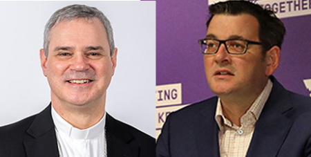 Archbishop Peter A Comensoli and Daniel Andrews  (ACBC and Facebook/Daniel Andrews MP)