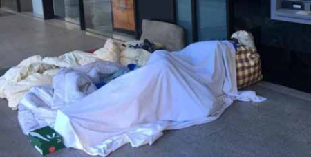 A homeless person on the streets of Sydney
