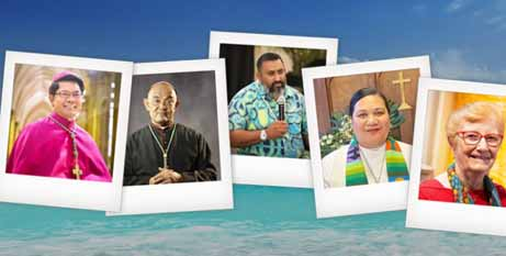 Speakers at the Edmund Rice webinar on climate change, from left, Bishop Vincent Long OFM Conv, Archbishop Peter Chong, Rev. James Bhagwan and Rev. Mata Havea Hiliau. The conversation will be facilitated by Sr Jan Barnett RSJ. (Catholic Outlook/supplied).
