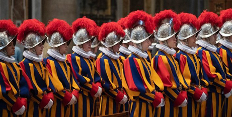 Swiss Guards on parade at the Vatican (Vatican Media)