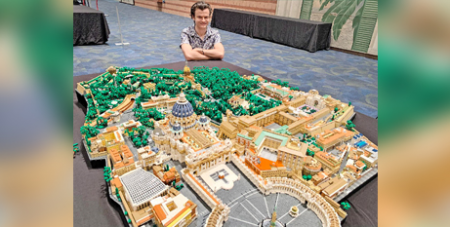 Rocco Buttliere with his Vatican City State replica (CNS/Peter Finney Jr, Clarion Herald)