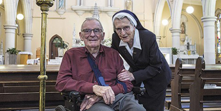 Bill Hayden and Sr Angela Mary Doyle on the day of his baptism (The Catholic Leader/Alan Edgecomb)