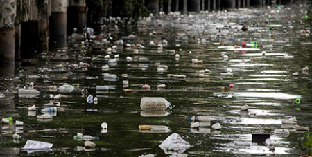 Plastic bottles float on the heavily polluted San Juan River, a tributary of the Pasig River in Mandaluyong City, Philippines (CNS/Eloisa Lopez, Reuters)