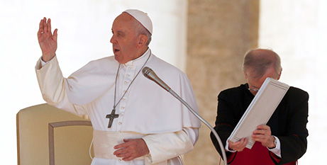 Pope Francis gives a blessing during his general audience in St Peter's Square yesterday (CNS/Remo Casilli, Reuters)