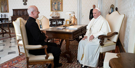 Fr James Martin SJ and  Pope Francis yesterday (Vatican Media)