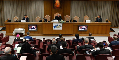 Cardinal Pietro Parolin addresses the Moneyval evaluation team at the Vatican yesterday (Vatican Media)