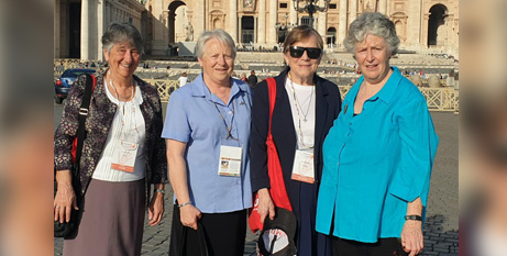 Sr Louise Cleary CSB (left) with Oceania representatives Sr Claire Griffin CSB, Sr Gemma Wilson SM and Christine Carolan in Rome last week (CRA)