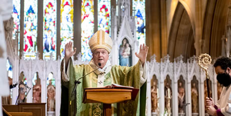 Archbishop Anthony Fisher delivers the homily at St Mary