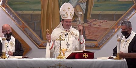 Archbishop Antoine-Charbel Tarabay OLM celebrates Mass for the Plenary Council yesterday (ACBC)