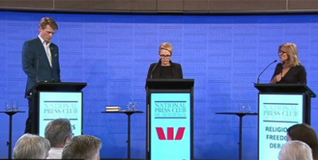Moderator Sabra Lane (centre) with religious freedom debate panellists Martin Iles (left) and Fiona Patten (right) at National Press Club yesterday (ABC News)