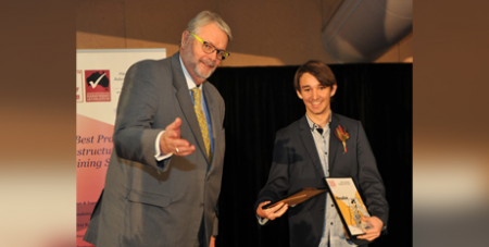 Greg Whitby and Ethan Zammit at the regional awards in June (Catholic Education Diocese of Parramatta)