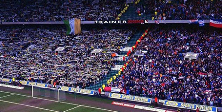 Segregated crowd at an Old Firm match at Celtic Park in Glasgow (Wikipedia/Stanmar)