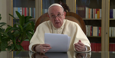 Pope Francis delivers his video message to participants of the Global Compact on Education yesterday (CNS/Vatican Media)