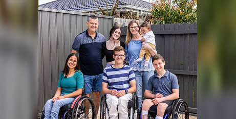 Steve and Cathy Wiseman (holding foster son Cameron) with daughter Grace and foster children Amy, Joel and Mitchell (The Catholic Weekly/Alphonsus Fok)