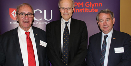 ACU Chancellor John Fahey, Dyson Heydon and ACU Vice Chancellor Greg Craven