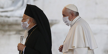 Orthodox Patriarch Bartholomew I of Constantinople and Pope Francis attend an interfaith prayer service for peace in Rome in October (CNS/Paul Haring)