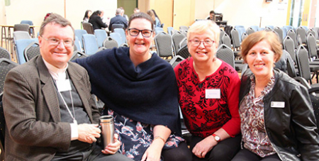 Bishop Pat O'Regan, left, Lana Turvey-Collins, Sophy Morley and Sharon Brewer at the Sale Diocesan Assembly (Sale Diocese)