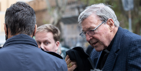 Cardinal George Pell arrives in Rome last month (CNA/Daniel Ibanez)